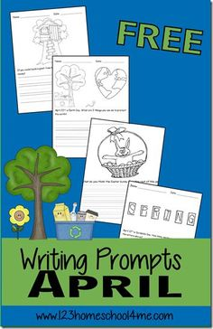 FREE April Creative Writing Prompts for Kids - kids will have fun writing with these fun writing ideas for april includes 2 different style of lines and many topics like easter, earth day, spring, gardening, and more for kindergarten, 1st grade, 2nd grade, 3rd grade, 4th grade