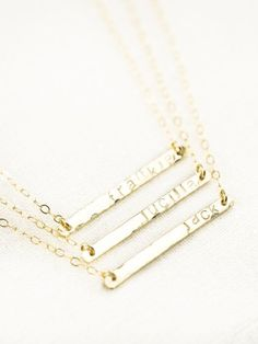 Ohana necklace gold bar necklace gold name, with names of my kids imprinted would be awesome