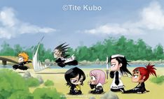 #Bleach chibi. LOL at Byakuya with senbonzakura in shikai (just because he can, I'm sure!) XD