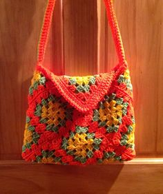 Orange Green and Yellow Crochet Granny Square by KatyDidKrafts, $35.00