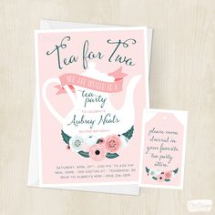 Tea for Two Birthday Invitation - Little Girls - Tea Party - Enchanted - Floral - Second Birthday Party - Invite - Digital/Printable File by ChiccDesigns on Etsy