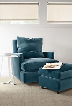 Colton Swivel Glider Chair & Ottoman in Vorto - Modern Recliners & Lounge Chairs - Modern Living Room Furniture - Room & Board