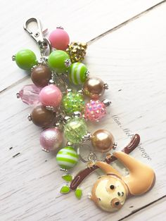 Sweet Baby Sloth Keychain/Zipper Charm with mini beads/purse/bag/planner/diaper bag/backpack/car rearview mirror/fan pull charm by MissMelsCottage on Etsy Tassel Purse, Tassel Keychain, Beaded Purses, Beaded Jewelry, Acrylic Keychains, Sunflower Necklace, Baby Sloth, Chunky Beads, Diaper Bag Backpack