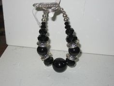 Black Beads Black Crystals Silver Toggle Bracelet by cthorses66, $6.99