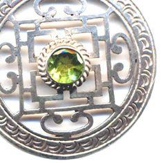 Sterling Silver Mandala, Nepal Mandala, Buddhist Necklace,Tibet Mandala Necklace, Peridot Mandala, Handmade Nepal Jewelry by AnnaArt72 - pinned by pin4etsy.com