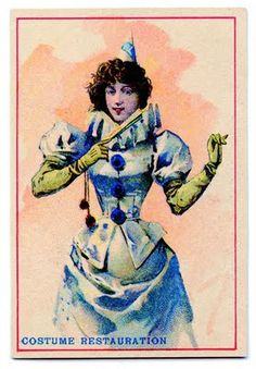 Click on image to enlarge This is a cute antique Advertising Trade Card for Costume Restoration. I guess they didn't have spell check back then huh?!! Anyway, I really liked this image of a woman in a Blue Pierrot Costume, she even has a fan! ShareTweet