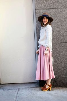 pink skirt, white jumper