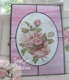 Pink Roses Stained Glass Panel via Teacupstitches Blog.
