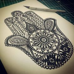 Hamsa Original Handcut Papercut                                                                                                                                                                                 More