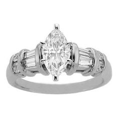 Marquise Engagement Ring Baguettes and Round Diamonds band