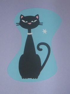 Die Cut retro 1950's Cool Cat for party by ThePaperdollPrincess, $5.00