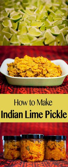 Indian Lime Pickle Recipe: I have always loved spicy Indian-style pickle dishes, especially lime pickle. There's something about the sour tart lime combined with hot spices that my own palate finds very infatuating. Relish Recipes, Lime Recipes, Chutney Recipes, Vegan Recipes, Cooking Recipes, Curry Recipes, Vegan Food, Healthy Eating Tips, Ideas