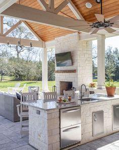 Outdoor Kitchen Patio, Outdoor Kitchen Design, Outdoor Rooms, Covered Outdoor Kitchens, Back Patio Kitchen Ideas, Outdoor Patios, Rustic Outdoor Kitchens, Outdoor Bars, Building An Outdoor Kitchen