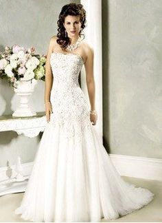 Trumpet/Mermaid Strapless Chapel Train Satin Tulle Wedding Dress With Lace Beading - Alternative Measures -