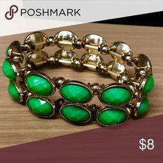 Green and gold decorative stretch bracelet Stretch bracelet Jewelry Bracelets