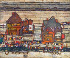 """peinture autrichienne : Egon Schiele, 1914, """"Maisons avec liges de couleur"""", 1910s"""