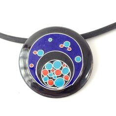 "Opaque 1 series, 2013. handmade enamel cloisonne pendant with fine silver wires. 1.5"" diameter."