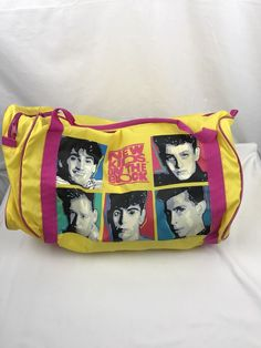 Vintage New Kids On The Block Duffle Bag Nylon Yellow Pink 1990 Vtg 194db7857d386