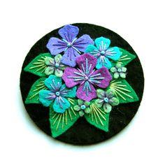 NOVEMBER SALE Hydrangea felt brooch with freeform embroidery