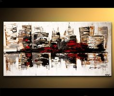 "Modern City Painting  Contemporary White Abstract ORIGINAL Contemporary Palette Knife on Canvas by OSNAT  48"". $430.00, via Etsy."