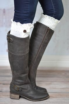 79002d9d27e9c Cream Lace Button Down Boot Cuffs