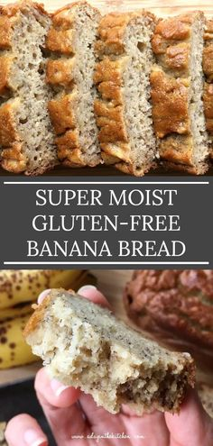 This super moist banana bread is soft and full of banana flavor. Mildly sweet and with no need for any butter or oil or xanthan gum, this beautiful banana bread is perfect for snacking alongside a hot cuppa coffee or tea. Gluten Free Deserts, Gluten Free Sweets, Gluten Free Breakfasts, Foods With Gluten, Dairy Free Recipes, Gluten Free Coffee Cake, Gf Recipes, Keto Foods, Patisserie Sans Gluten