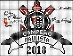 Corinthians Campeão Paulista 2018 C2c, Hama Beads, Minions, Diy And Crafts, Hello Kitty, Cross Stitch, Crochet Sun Hats, Embroidery Thread, Cross Stitch Angels