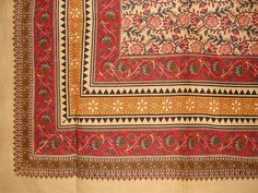 """Turkish Floral Print Tapestry Cotton Bedspread 108"""" x 88"""" Full-Queen Red"""