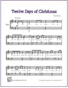 Twelve Days of Christmas | Free Sheet Music for Easy Piano - http://makingmusicfun.net/htm/f_printit_free_printable_sheet_music/twelve-days-of-christmas-piano.htm