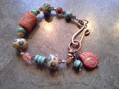 Boho Bracelet Carved Corral Turquoise Bali by countrycharisma