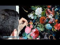 ▶ Art Reproduction (van Aelst - Flowers in a Silver Vase) Hand-Painted Step by Step - YouTube | Art Paint Along | Pinterest