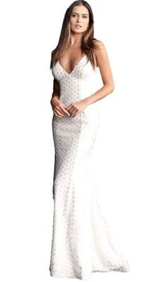 Gorgeous Adorned Lace Backless Long Gown   | Home