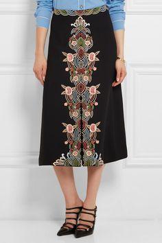 Vilshenko   Jo embroidered crepe skirt   NET-A-PORTER.COM