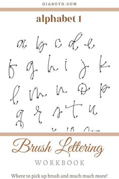 Learn where to pick up brush and all of my other best tips for learning the basics of calligraphy writing! Showing you exactly how in my PRINTABLE brush lettering workbook that anyone can learn! Brush Lettering Alphabet, Calligraphy Letters Alphabet, Handwriting Alphabet, How To Write Calligraphy, Hand Lettering Fonts, Creative Lettering, Lettering Styles, Lettering Tutorial, Lettering Design