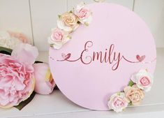Wooden Name Plaques, Personalized Plaques, Wall Plaques, Wooden Signs, Girl Nursery Themes, Nursery Signs, Plaque Design, Name Wall Decor, Flower Names
