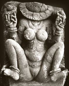 """Aditi (अदिति """"she who has no limits""""), also known as Lajja Gauri, the uttānapad """"she who crouches with legs spread""""."""