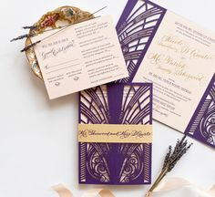 Great Gatsby Vintage-Inspired Lasercut #Wedding Invitations with Gold Foil via Oh So Beautiful Paper: http://ohsobeautifulpaper.com/2014/06/nicole-patricks-vintage-inspired-lasercut-wedding-invitations/ | Paper Design + Photo: Coral Pheas­ant | Calligraphy: MM Ink