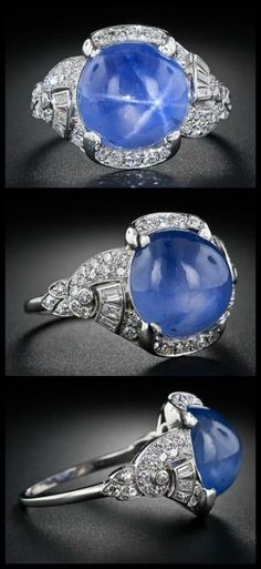 КИНО И ОБРАЗ 15 carat blue star sapphire and diamond Art Deco ring at Lang Antiques. Circa 1930