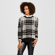 Women's Plaid Fuzzy Sweater - Cliché Black/White at Target. Affiliate link. #fashion