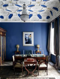 Snorkel Blue Color Trend Roundup Emily Henderson--that ceiling is amazing!