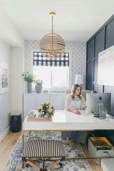 Small Workspace, Office Workspace, Office Decor, Office Inspo, Office Ideas, Office Chic, Home Office Space, Home Office Desks, White Desk Home Office
