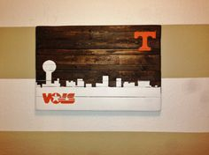 Hand Painted Tennessee (Knoxville) Volunteers Skyline Wooden Sign - Can be Customized Any Way on Etsy, $95.00