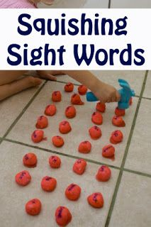 Squishing sight words - what a fun way to learn.May also do this with the alphabet or numbers to increase recognition. Very interesting {Could also do with playdough}