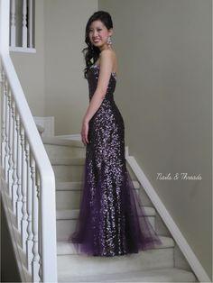 Nails & Threads: Prom/Graduation Nails Mini Series - Dark Purple and Sequins (My own grad!)