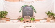 Reception buffet setup - the menu is an old mirror frame from Anthropologie converted into a chalkboard