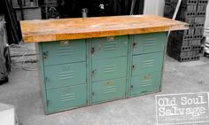 Vintage Locker Base Table perfect for TV Console, Dinning Room Buffet, Kitchen Island and so much more. Custom creation by Old Soul Salvage