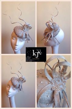 Silver sinamay, diamante and curled quill fascinator #millinery #fascinator…