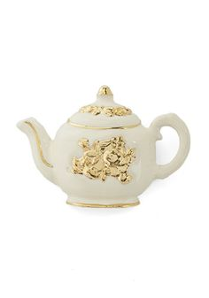 Only a Pastry Pin. A small, sweet snack is all you must order when you arrive at the tea house, wearing your own porcelain-looking pot upon the strap of your purse! #white #modcloth
