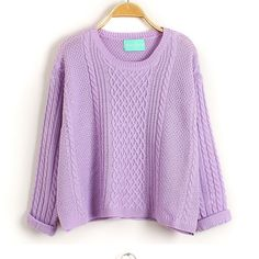 Delicate Round Neck Candy Color Loose Knit Sweaters
