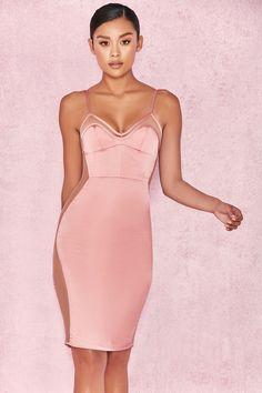 Clothing : Bodycon Dresses : 'Antares' Dusty Pink Satin Bralet Dress